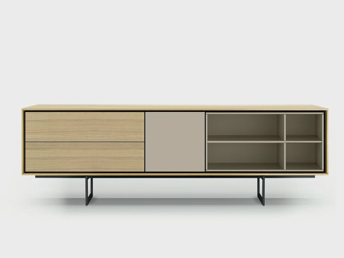 Lacquered Solid Wood Sideboard Aura C1 3 By Treku Design Angel  # Aura Meuble Tv