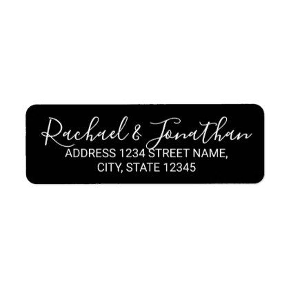 Modern Script Black And White Wedding Label  Black And White