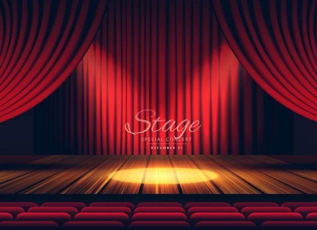 Fondo De Escenario De Teatro Con Cortinas Rojas Vector