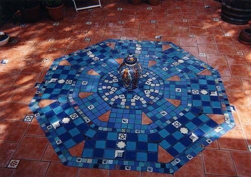 Mosaics Tile Mosaic Within Travertine Patio Pebble Gravel