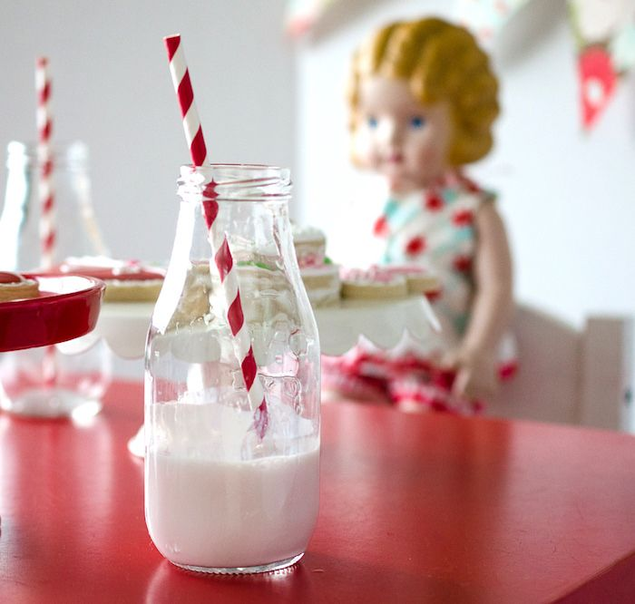 Milk bottle from a Dolly and Me Valentine Tea Party on Kara's Party Ideas | KarasPartyIdeas.com (22)