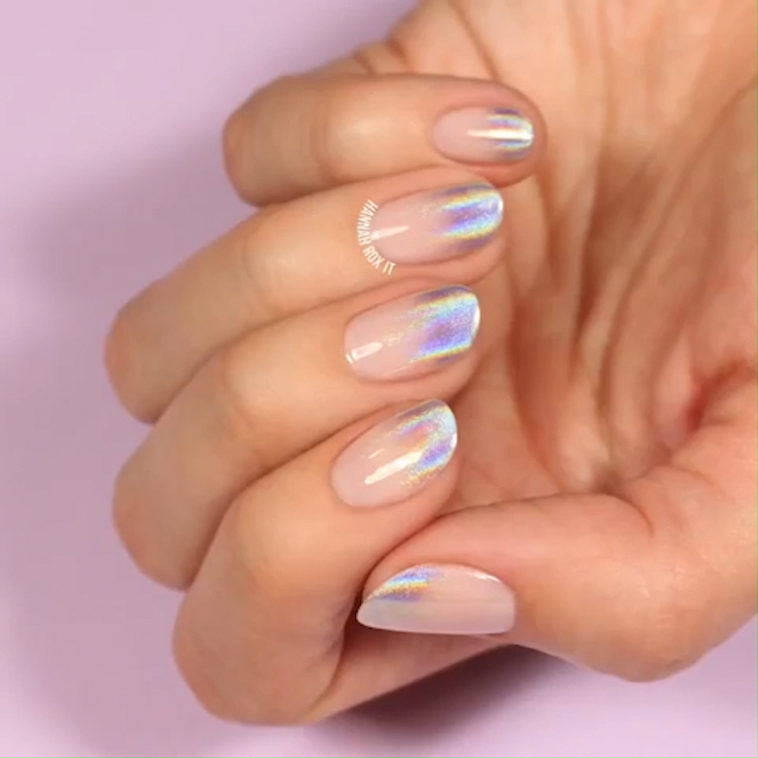 Holographic Ombre Nail Art Looks Awesome On Short Natural Nails In 2020 Nail Art Ombre Short Acrylic Nails