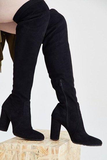Bayan Siyah Uzun Suet Cizme Cizmeler Uzun Cizme Siyah Cizmeler