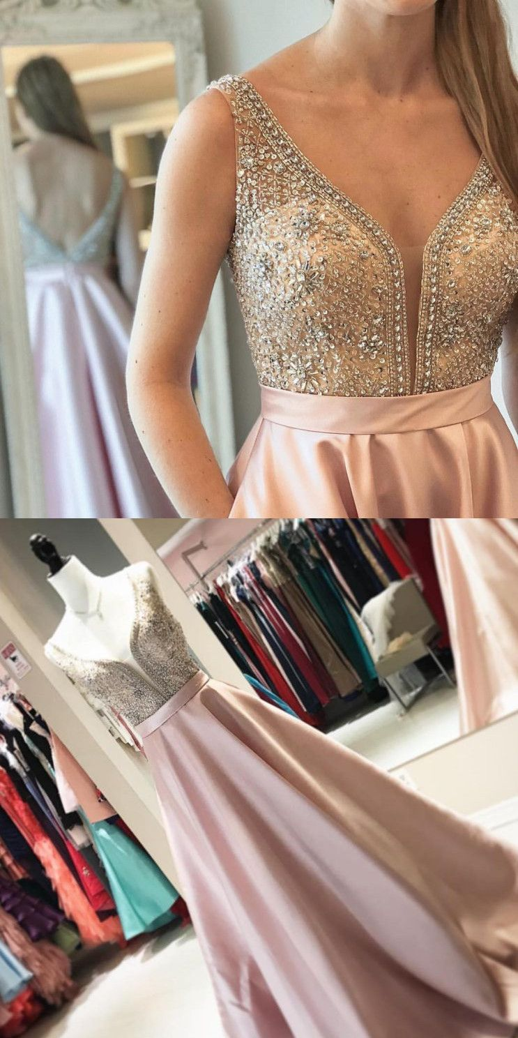 Elegant beads pink long prom dress with pockets from modsele fancy