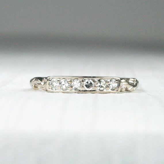 Sweet Art Deco 18K White Gold & Diamond Wedding by HeartDecoShop