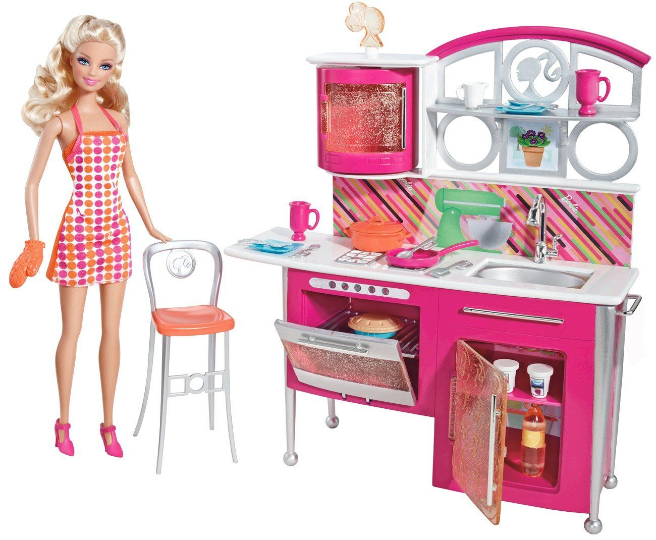 Amazon Com Barbie Stovetop To Tabletop Deluxe Kitchen And Doll