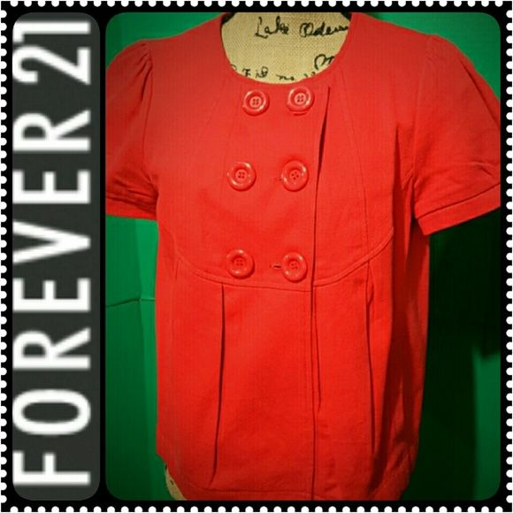Forever 21 Ladies Top Cute Short Sleeves Front Button Top in Dark Orange Shade,  Fully Lined, Mint Condition Forever 21 Tops