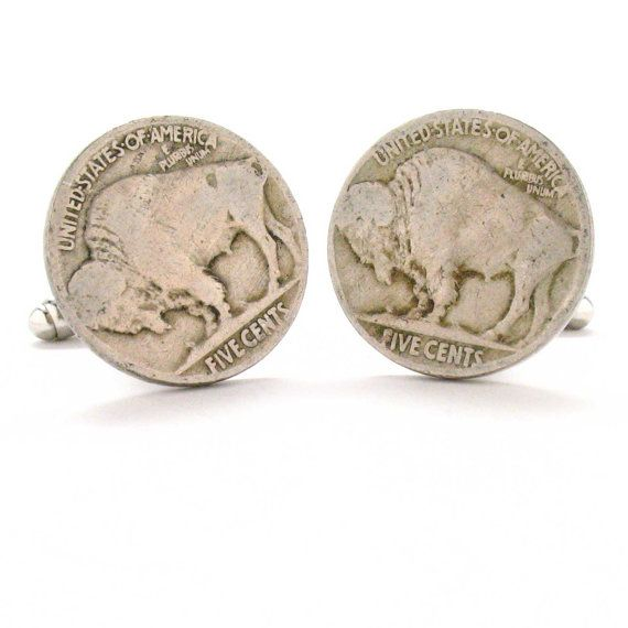 Buffalo Nickle Cufflinks Cuff Links Coin Wild West Cowboy Indian