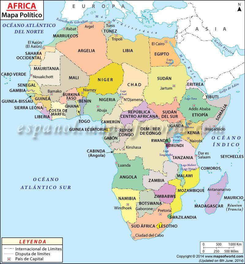 Mapa Politico de Africa  Lugares para visitar  Pinterest  Africa