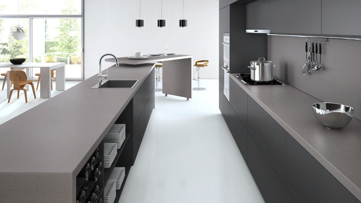 Caesarstone Sleek Concrete Solid Surface Counter Home