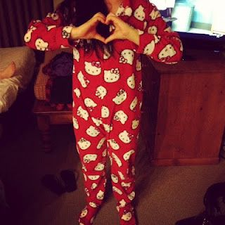 I have a pink hello kitty onsie with leopard print. I adore it <3