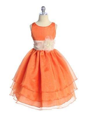 Orange 3 Layered Organza Pick Your Sash Flower Girl Dress