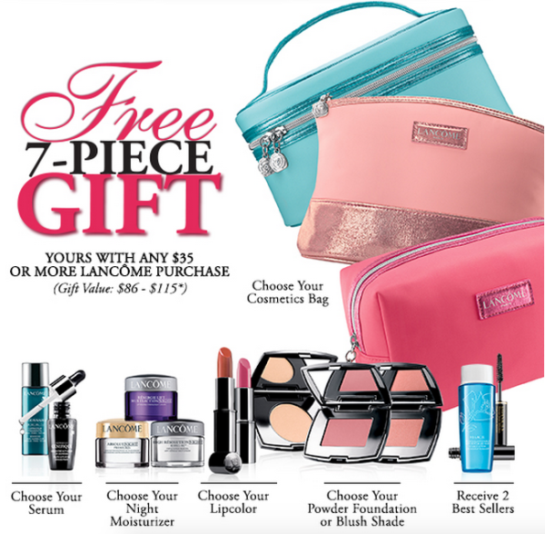 2d33aa269b6 Lancome gift with purchase - 7 pcs with $35 purchase - Gift With Purchase