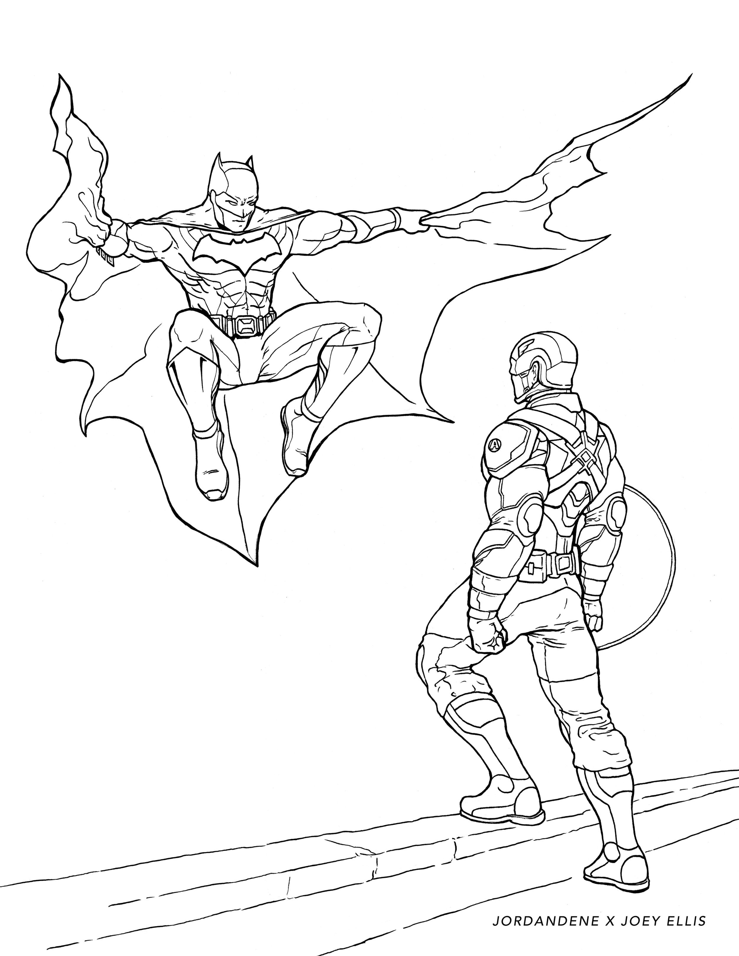 Printable Coloring Page Batman Vs Captain America Batman Coloring Pages Captain America Coloring Pages Free Coloring Pages