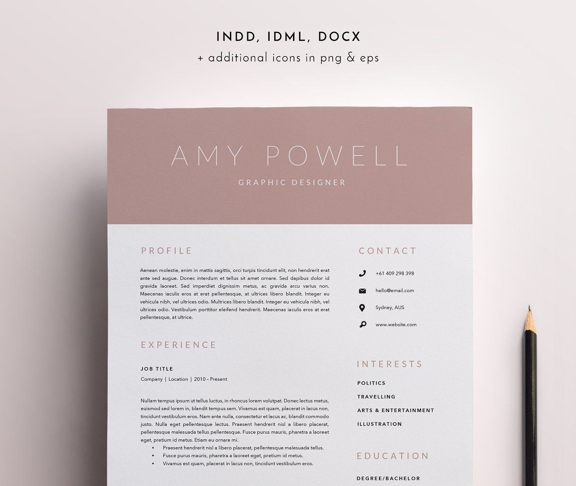 Resume Template Indesign 3 Page Resume Template  Indd  Docx  Resumes  Resources Career