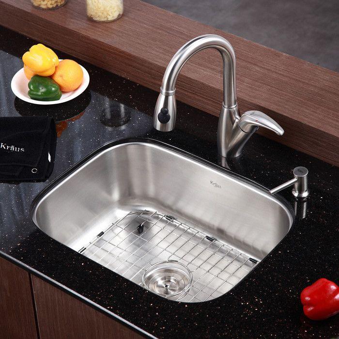 Stainless Steel 23 L X 18 W Undermount Kitchen Sink With Drain Assembly Stainless Steel Kitchen Sink Kitchen Sink Single Bowl Kitchen Sink