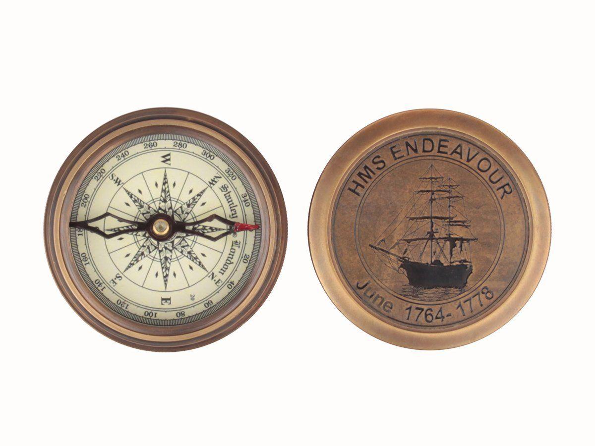 Vintage 3 H M S Endeavour Pocket Compass For Office Desk