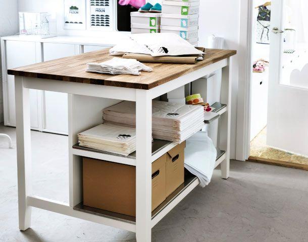 STENSTORP Kücheninsel in Weiß/Eiche mit Versandutensilien, PAPPIS ...