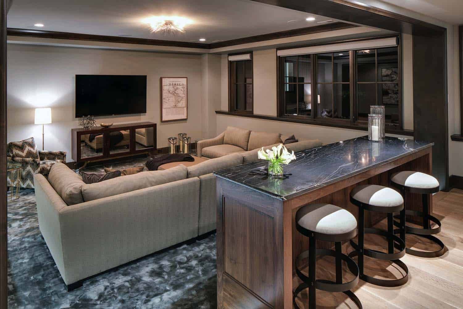 House Tour Gorgeous Modern English Tudor Home In The Upper Midwest Basement Living Rooms Basement Colors Basement Tv Rooms