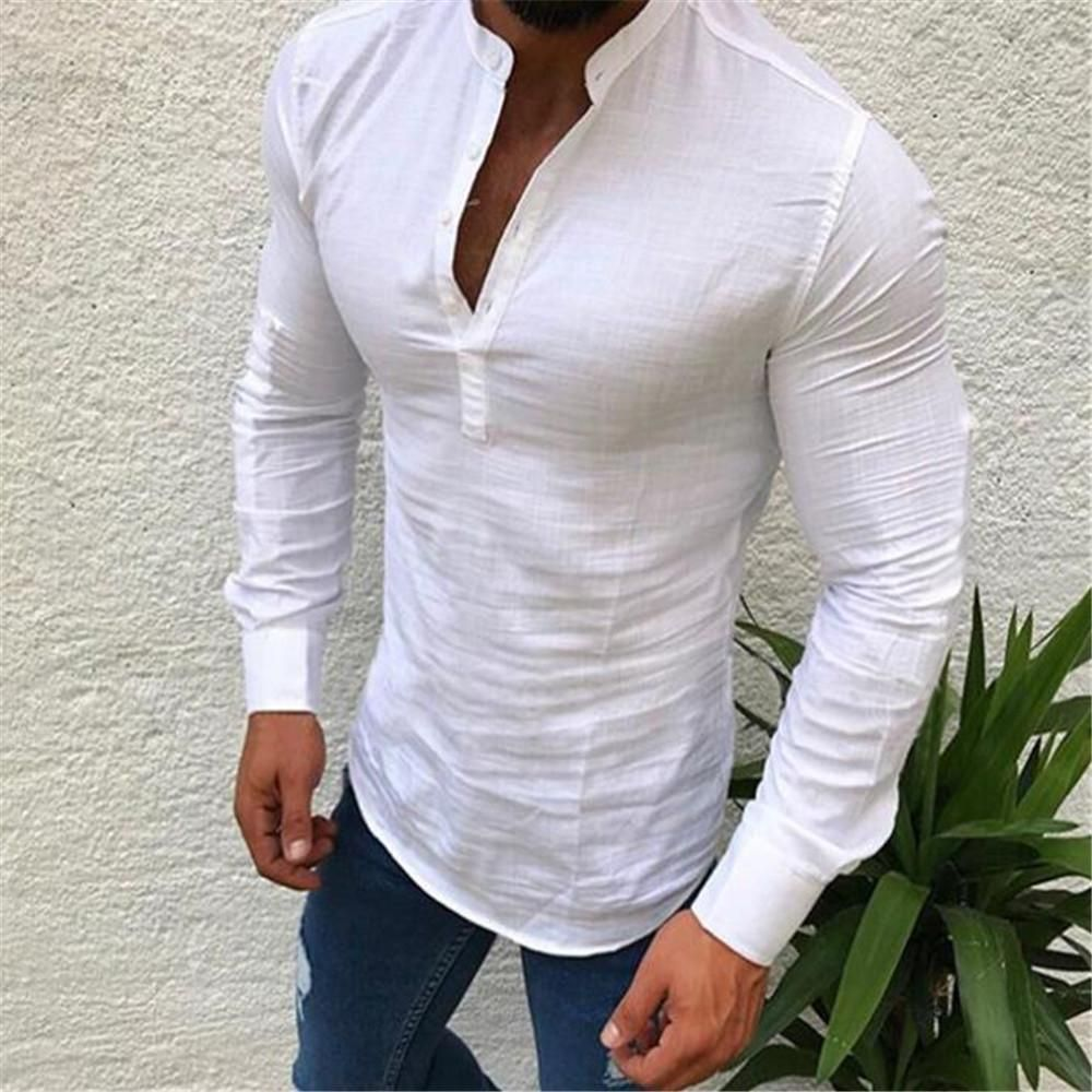 Men/'s Cotton Casual Long Sleeve T Shirt Collarless Striped Formal Tee Top Blouse