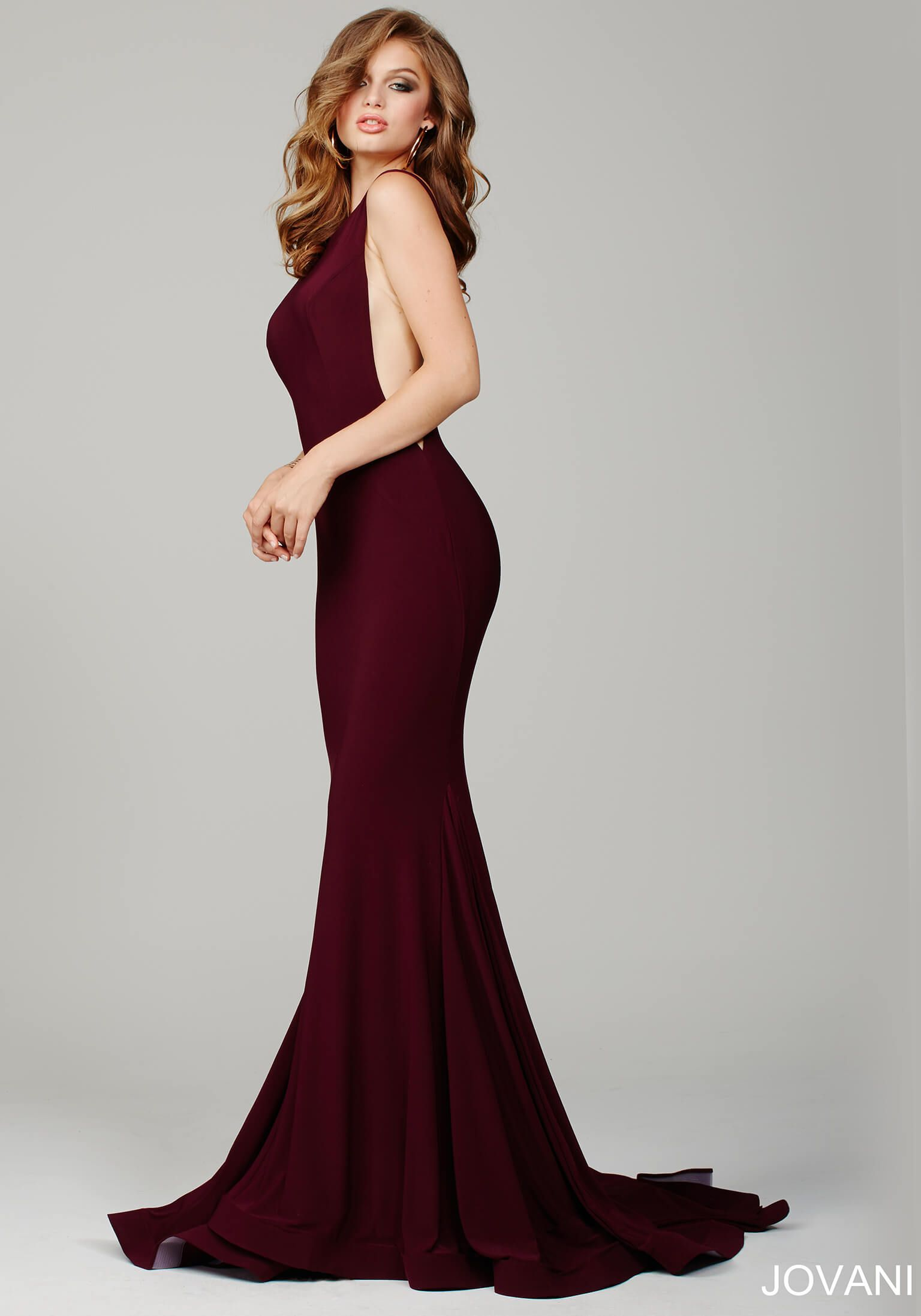 Burgundy Prom Dress by Jovani This form fitting prom gown
