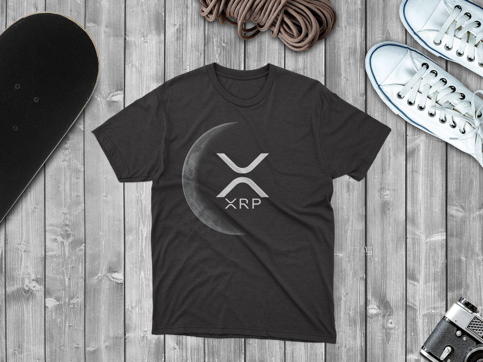 Ripple XRP Logo Crypto Moon Tshirt Design Template T
