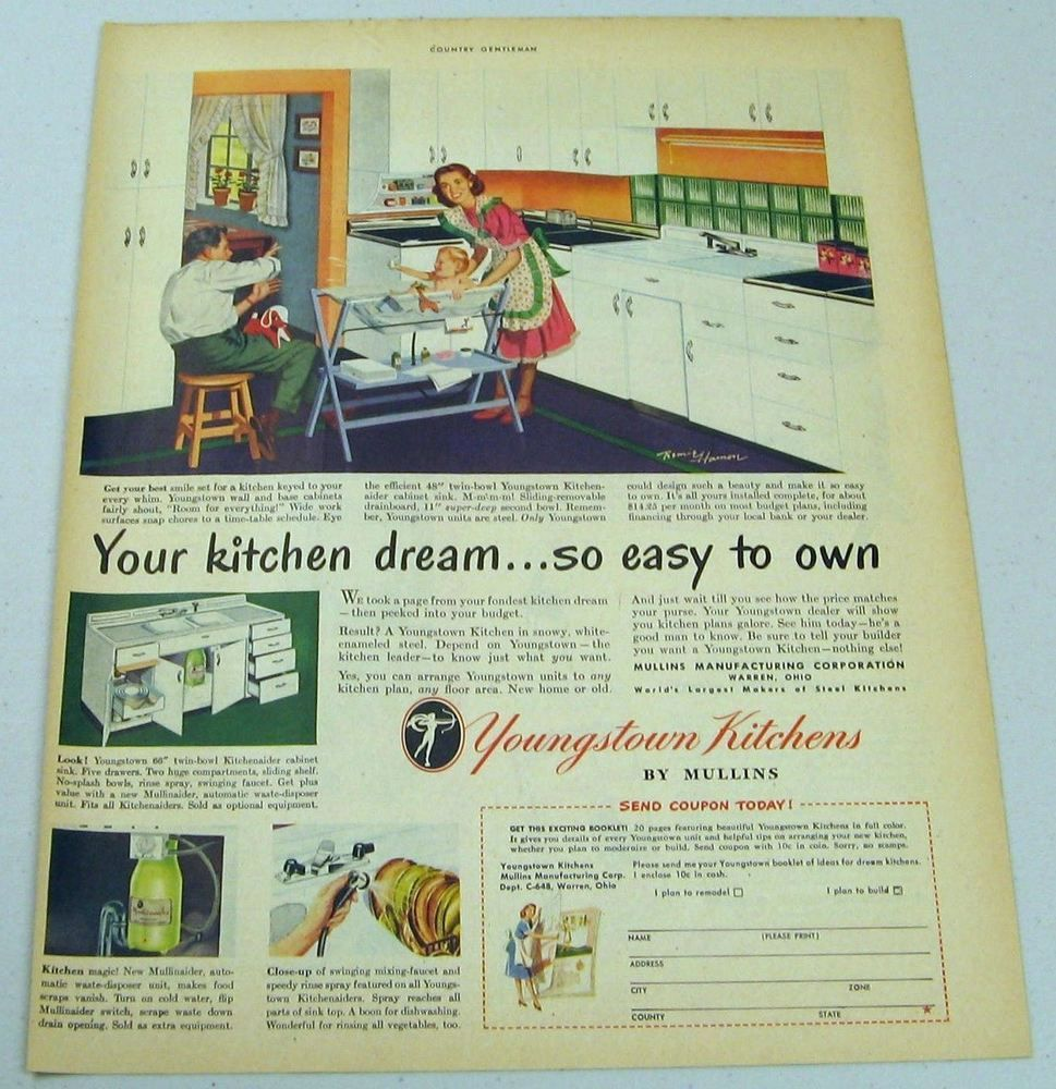 1948 Print Ad Youngstown Kitchens By Mullins Happy Family Warren Ohio Warren Ohio Print Ads Youngstown