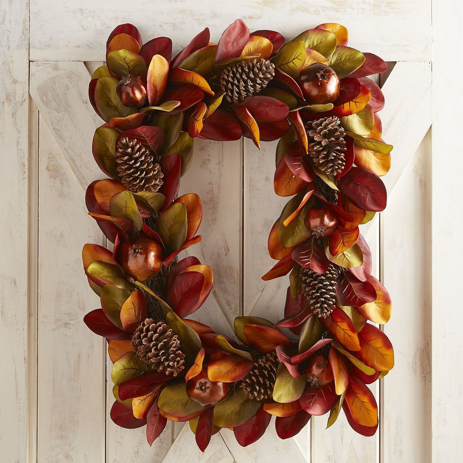 Faux Magnolia u0026 Pomegranate Rectangular Wreath Faux
