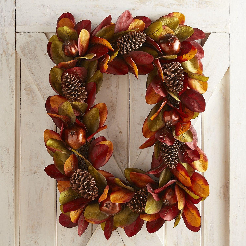 Faux Magnolia u0026 Pomegranate Rectangular Wreath Faux