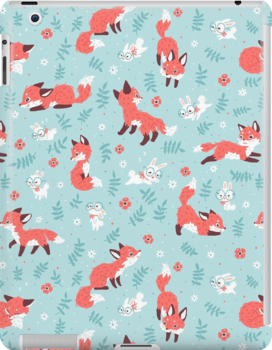 Fox And Bunny Pattern Ipad Snap Case by freeminds