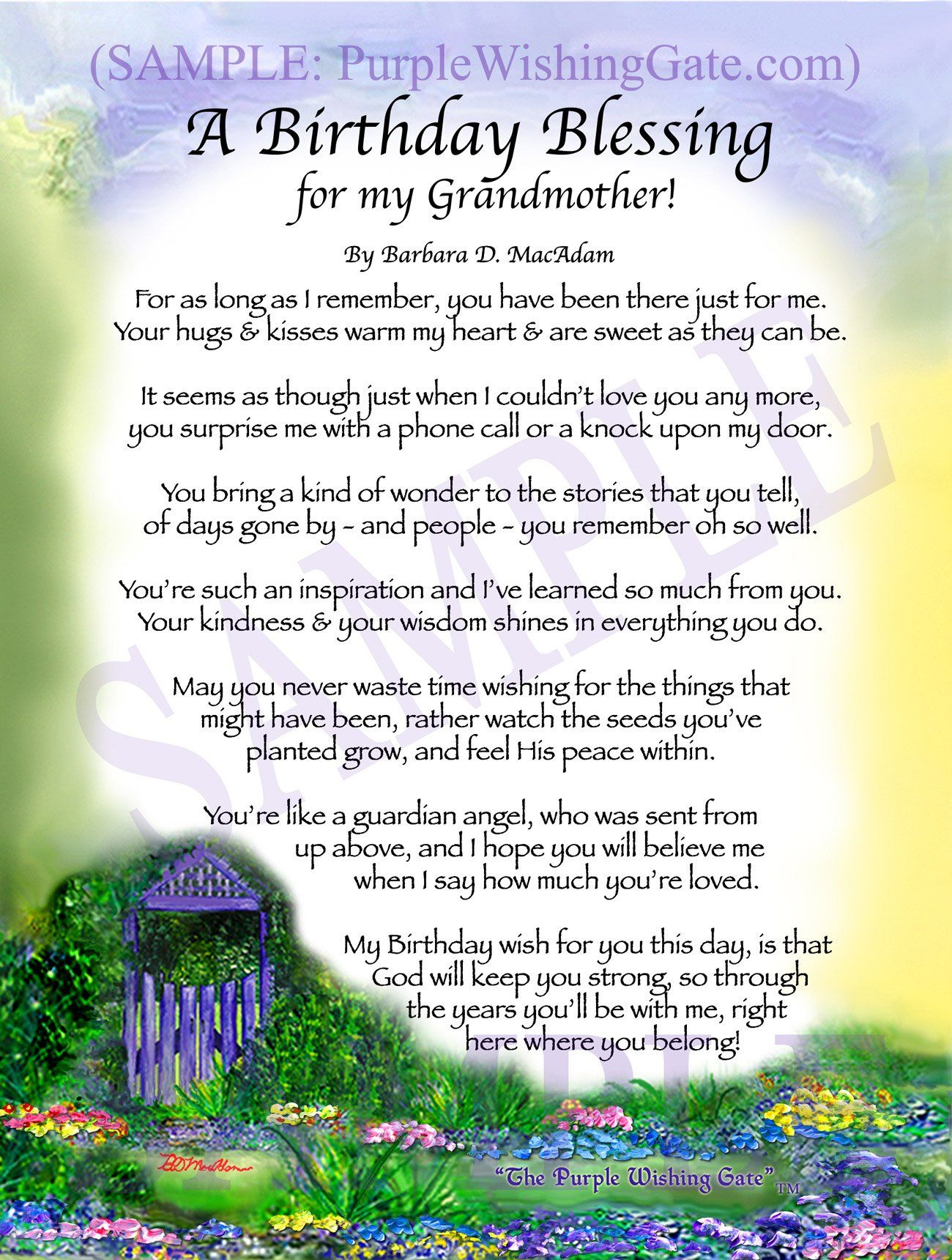 A Birthday Blessing For My Grandmother Birthday Blessings