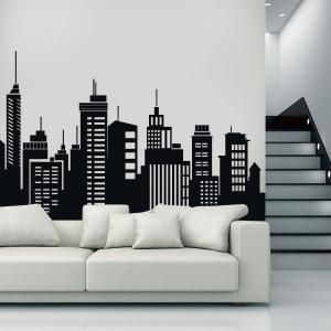 Vinilos decorativos edificios ciudades dibujos en pared for Vinilos pared ciudades