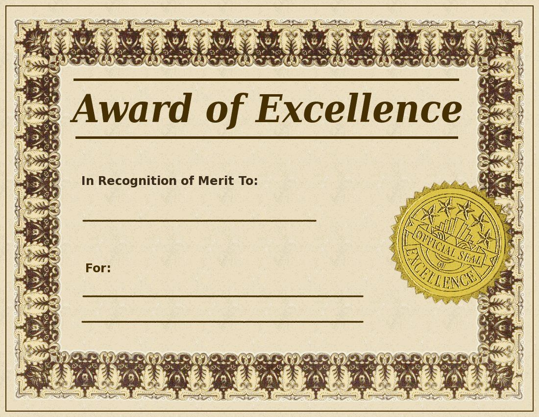 Blank Award Certificate Templates | Search Terms: awards, badge ...