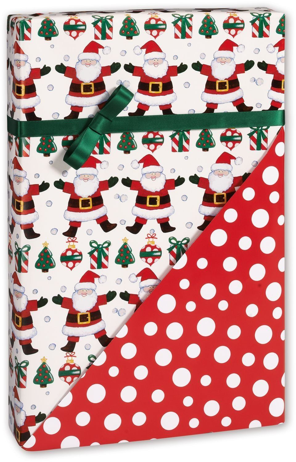 Holiday Gift Wrap - Happy Santas Reversible Gift Wrap, 24' x 417' (1 roll) - BOWS-HR-HPSN -- You can get additional details at the image link.