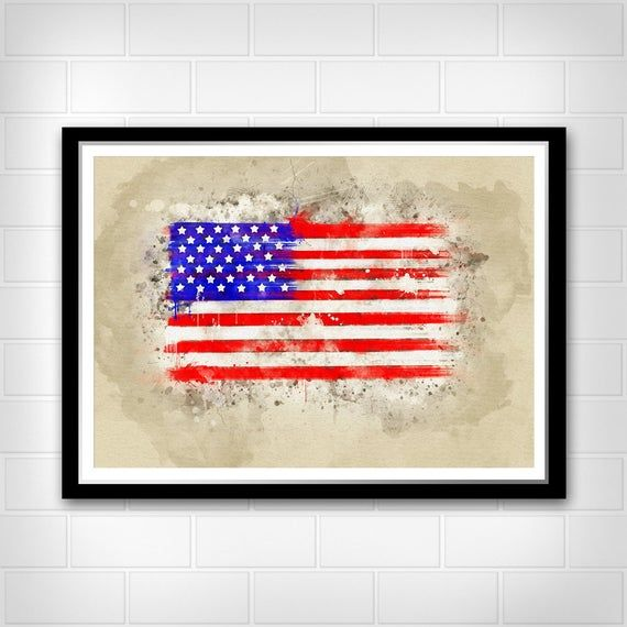 American flag Art print Watercolor wall decor Home and Office decoration I love my Country #americanflagart