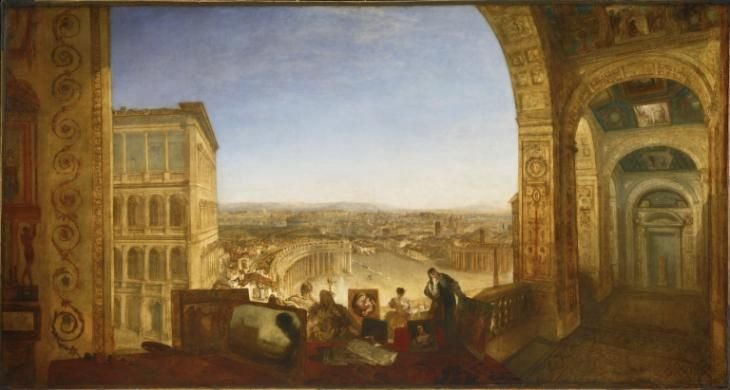 Joseph Mallord William Turner, 'Rome, from the Vatican. Raffaelle, Accompanied by La Fornarina, Preparing his Pictures for the Decoration of the Loggia' exhibited 1820