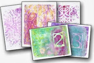 The Art House Studio: A little Gelli Fun -- I had a wonderful time last night playing with my Gelli Plate making some pretty pattern papers that I'll use in a journal book (to be made during our next broadcast from the studio). Thanks so much for joining me. Here are a few of the papers that I created in the stream....