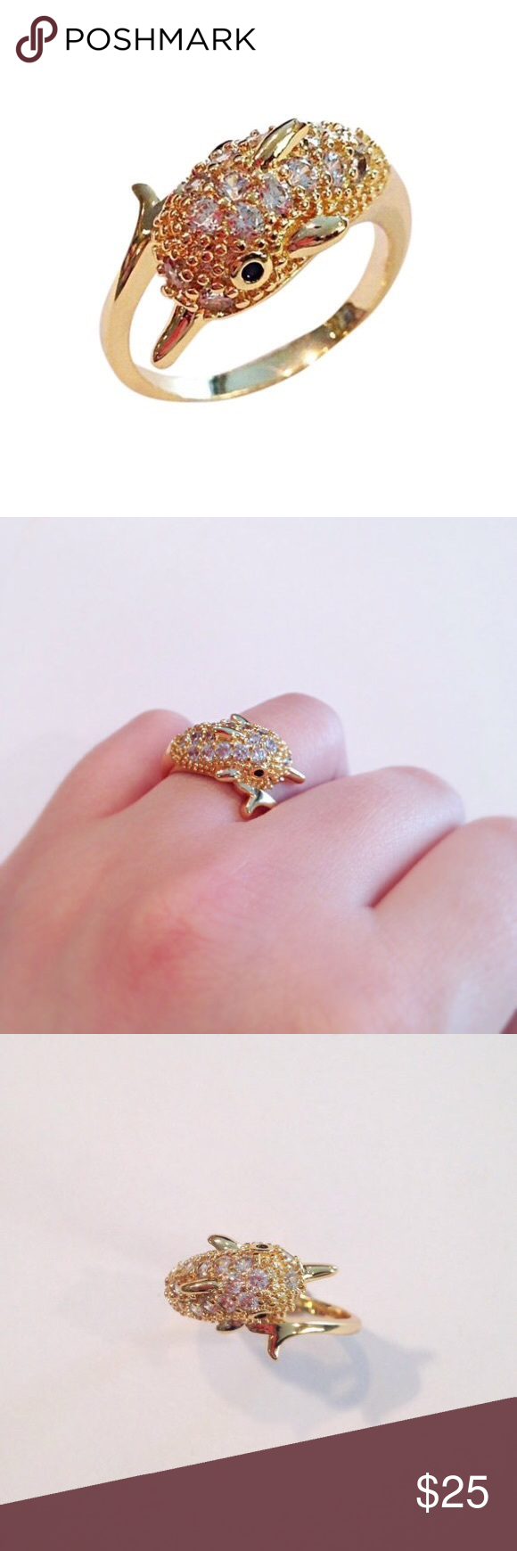 Beach Inspired CZ Gold Plated dolphin Shaped Ring NWT | Pinterest ...
