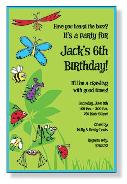 bugs galore birthday party invitations