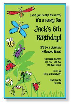 Free Bug Party Invitation Kids Birthday Invitations Girls Boys - Birthday invitation wording kid