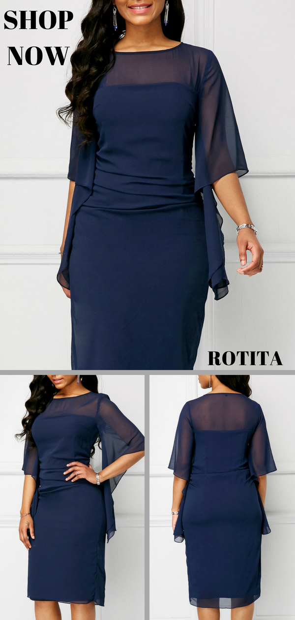 7e4e693afa666 Half Sleeve Round Neck Navy Blue Overlay Dress .From parties and formal  dinners to work events and casual summer afternoons