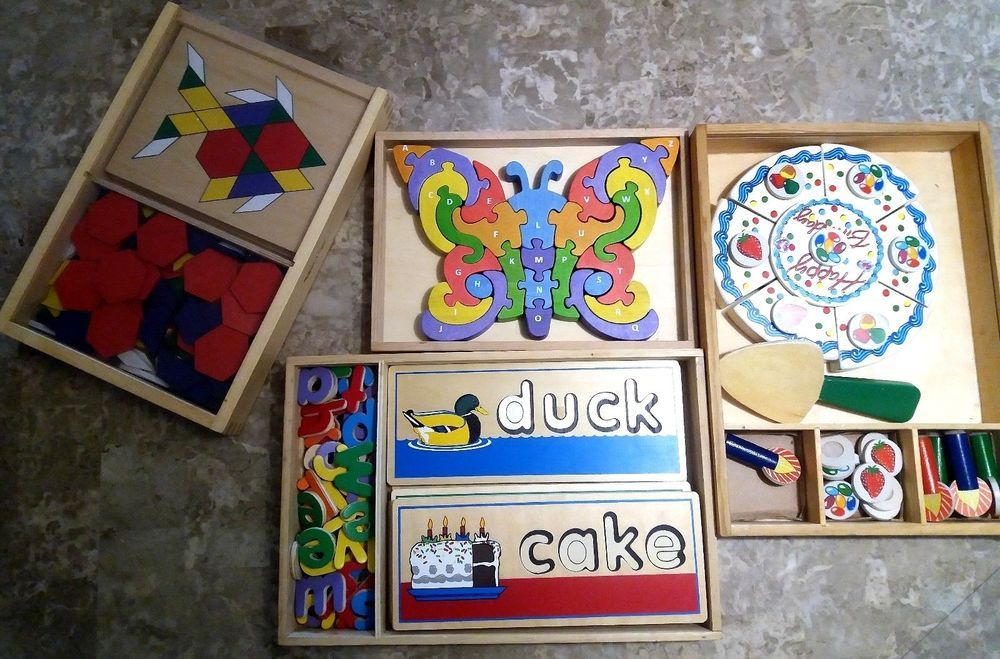 Lot of 4 educational wooden kids toys melissa doug