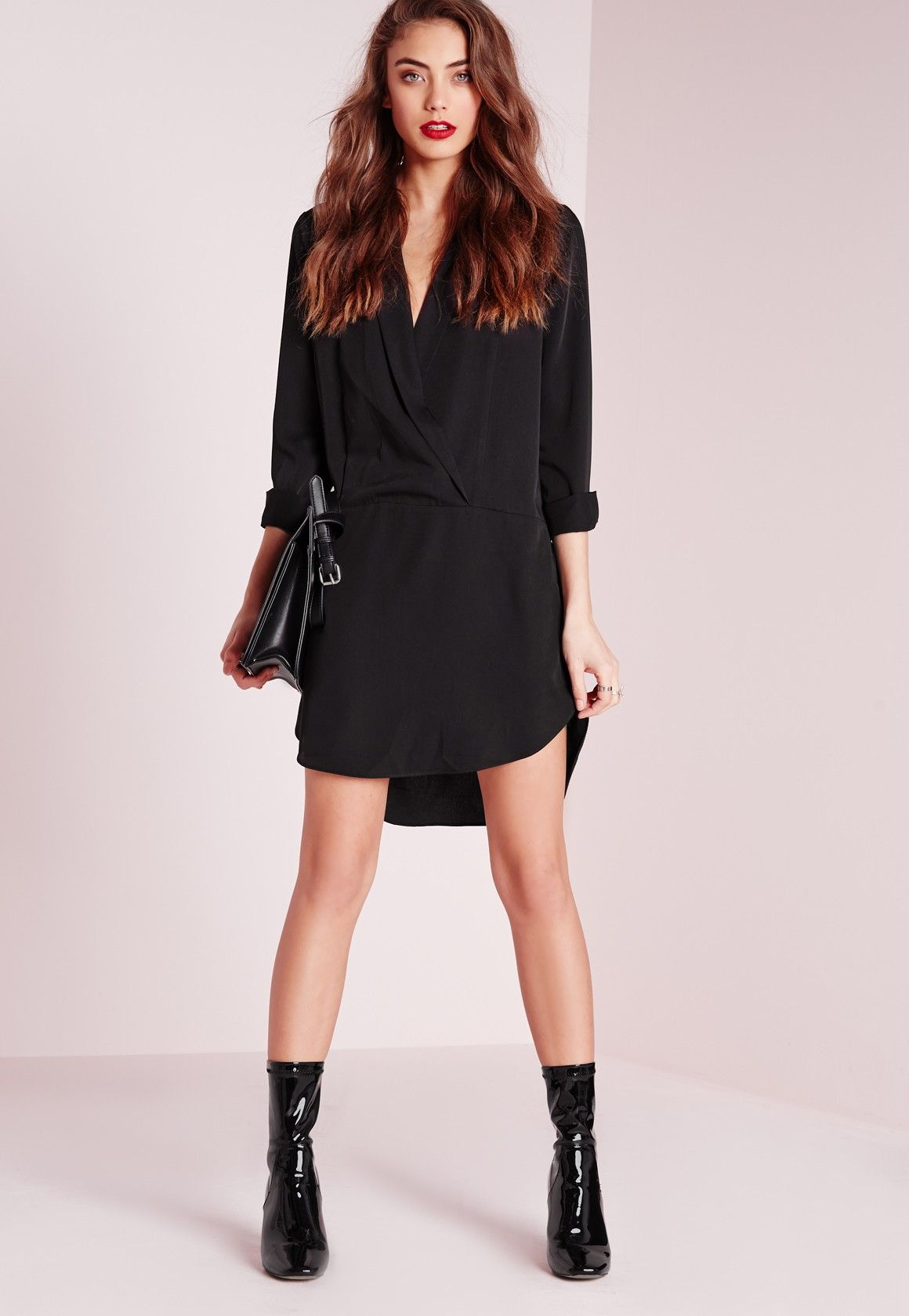 Long sleeve wrap front shirt dress black all black everything
