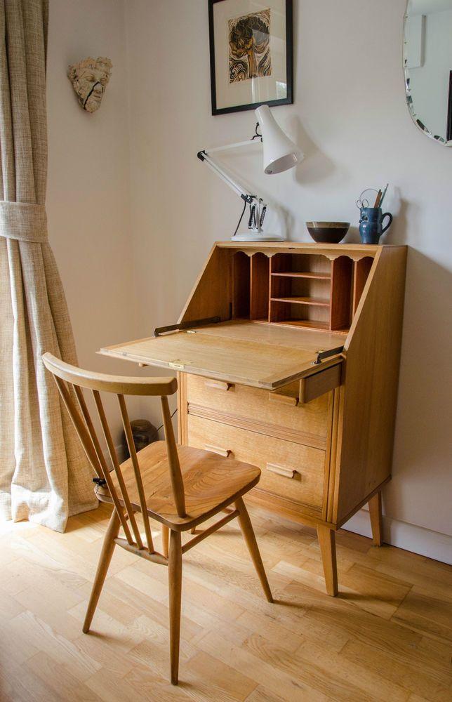 Superbe Vintage Blonde Light Oak Small Bureau Writing Desk Via EBay Oak Dining  Chairs, Dining Table