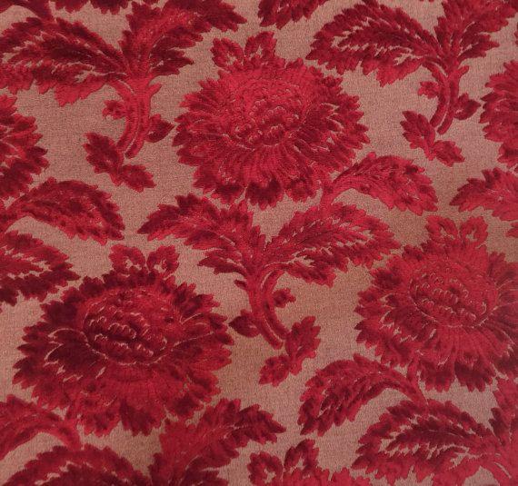 Color Rojo Borgoña Tapicería Cortina Tela De Chenille Patrón Floral geométrica