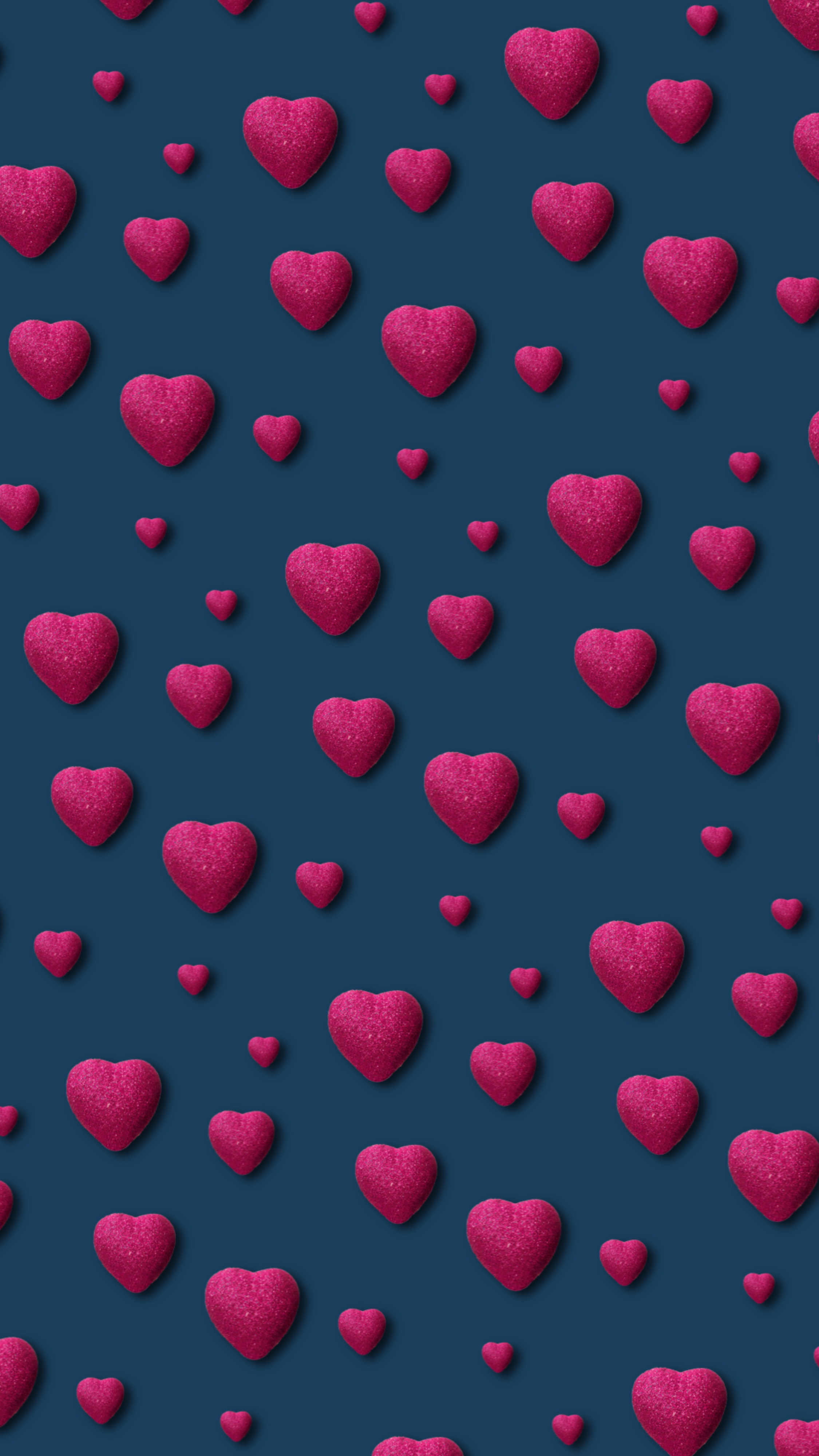 Pink Hearts Tiny On Blue In 2019 Heart Wallpaper