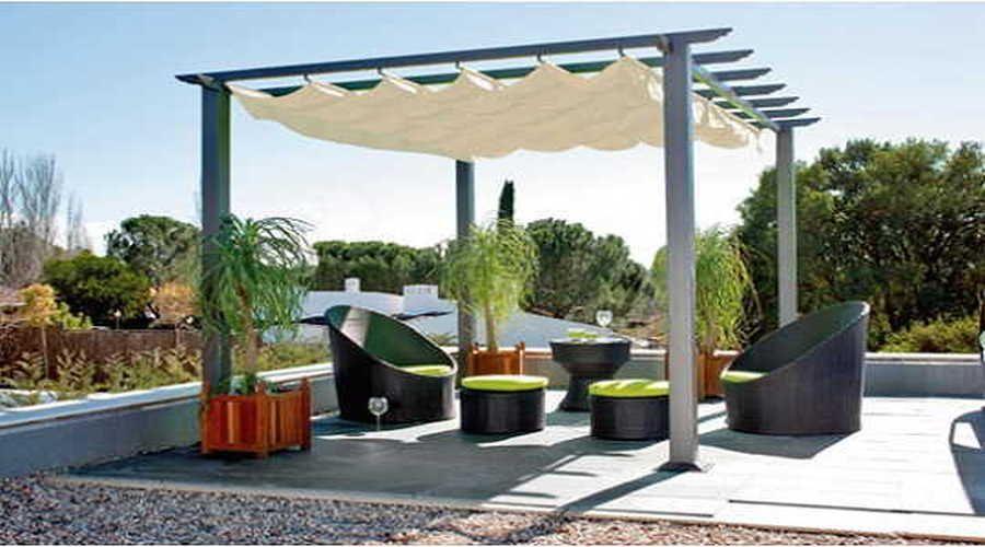 Pergola con techo/tela | STAND FERIA | Pinterest | Frente de las ...