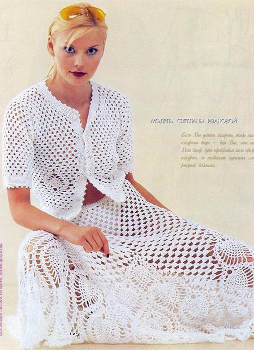 White Skirt and Top Set free crochet graph pattern   Faldas ...