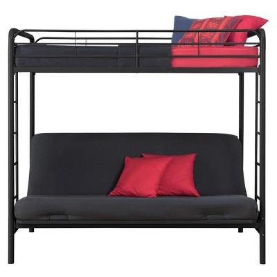Twin Metal Twin Over Futon Bunk Bed Room Joy Black Metal
