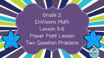 Free! It's time to learn how to solve two question problems! Do you use the Grade 2 EnVisions math curriculum? You may enjoy enhancing the curriculum with this Power Point. The Power Point teaches Lesson 3-6 of Topic 3, which is Problem Solving: Two Question Problems.
